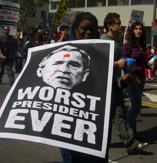 Bush on a protest sign